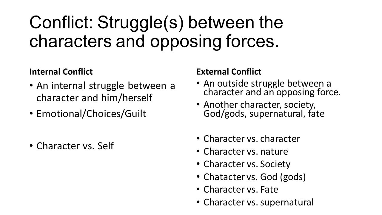 Conflict: Struggle(s) between the characters and opposing forces.