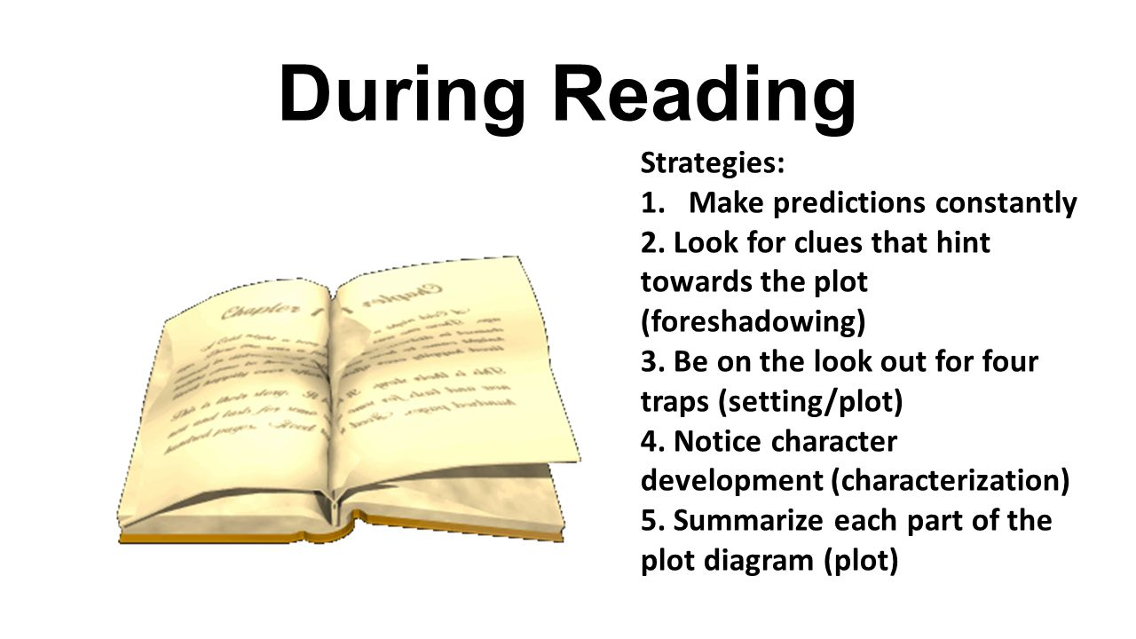 During Reading Strategies: Make predictions constantly