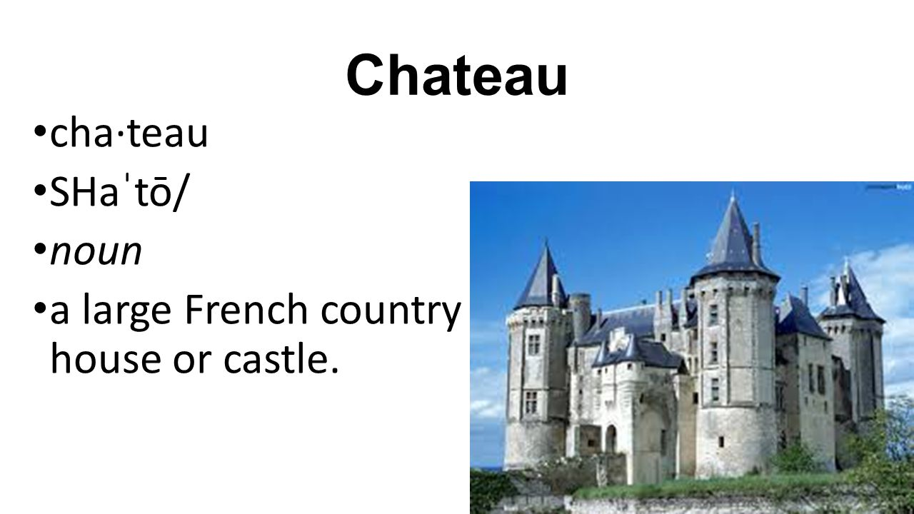 Chateau cha·teau SHaˈtō/ noun a large French country house or castle.
