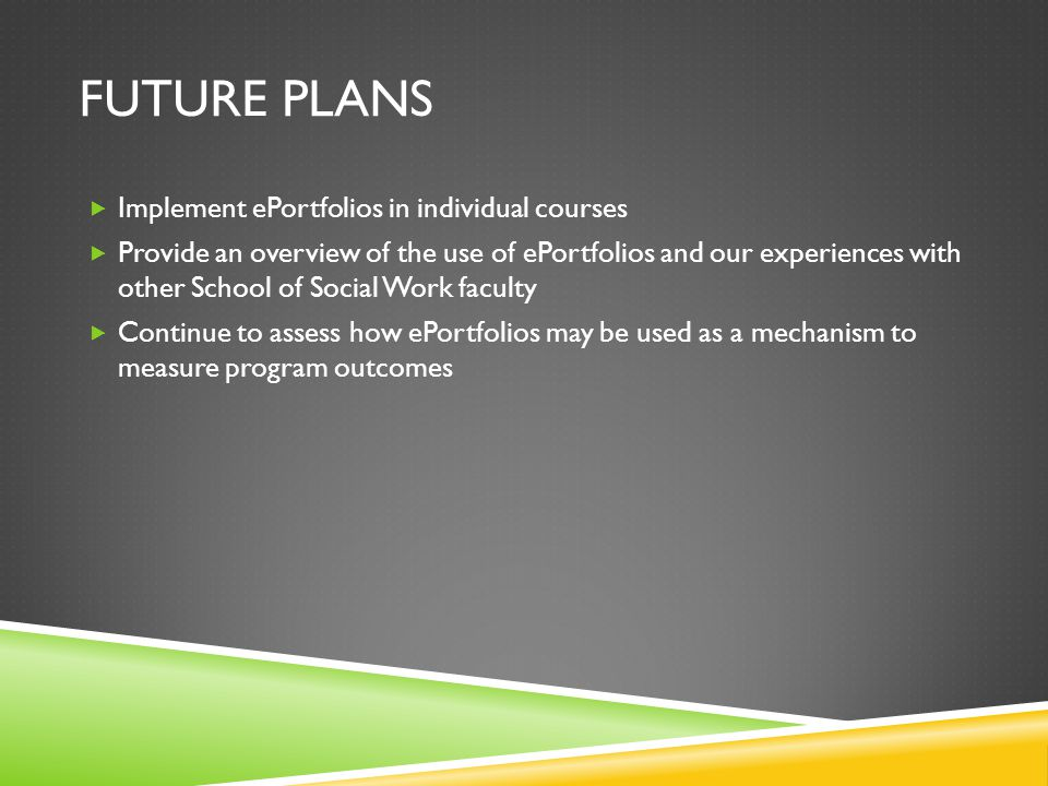 Future plans Implement ePortfolios in individual courses