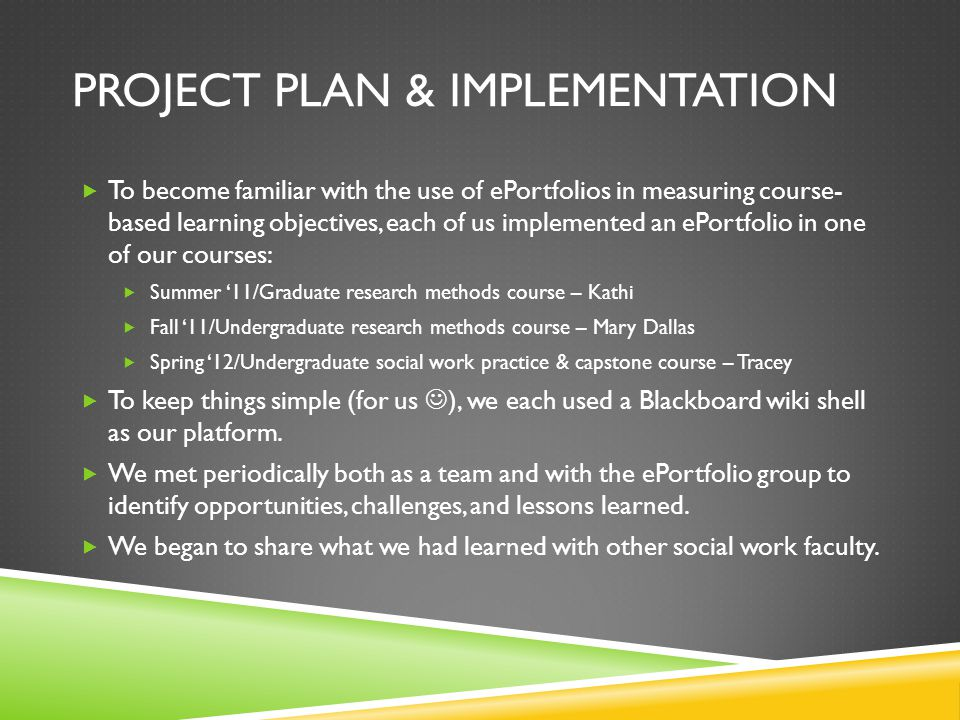 Project Plan & Implementation