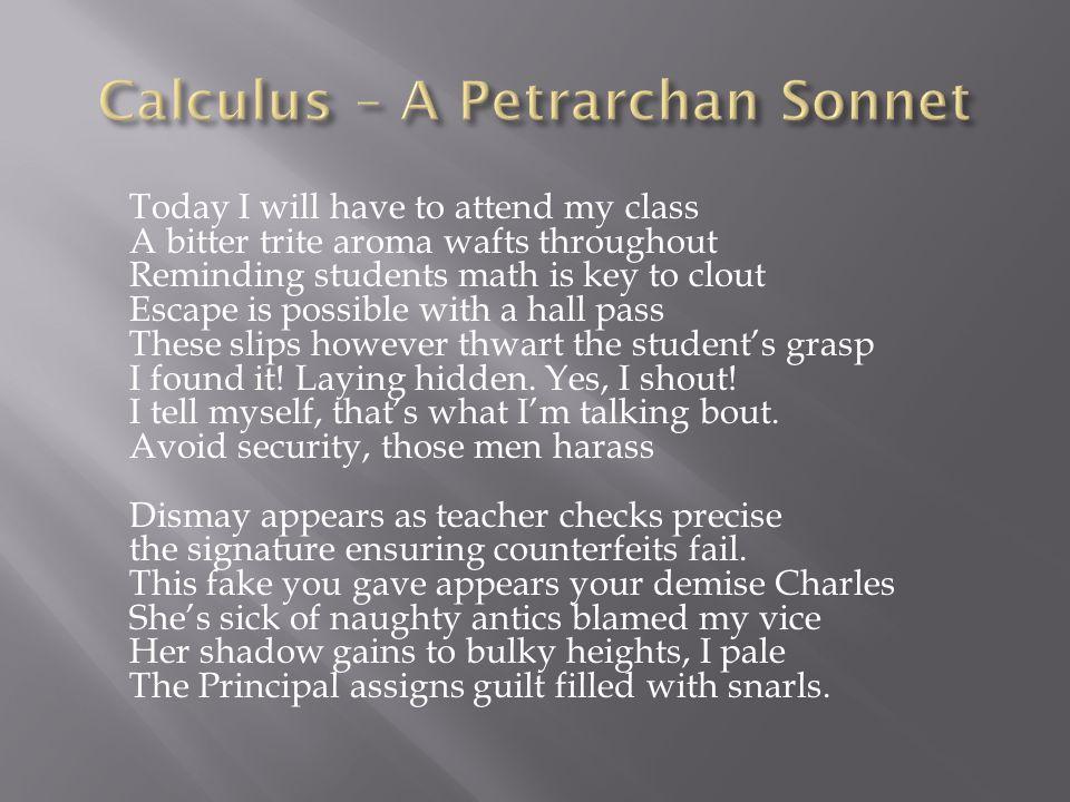 Calculus – A Petrarchan Sonnet