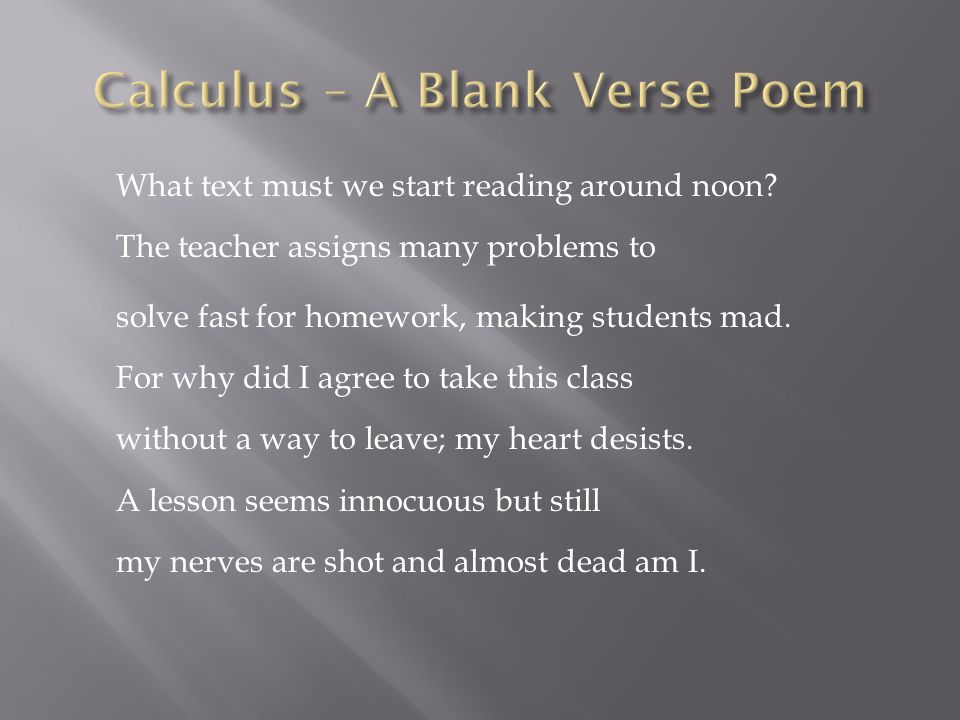 Calculus – A Blank Verse Poem