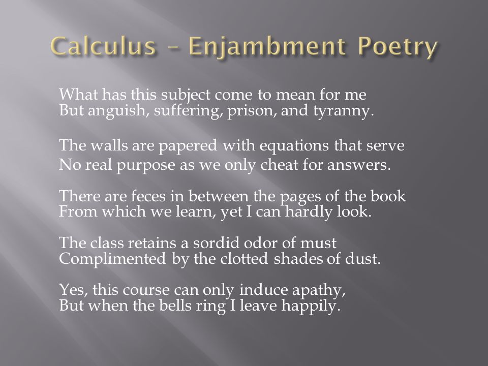 Calculus – Enjambment Poetry