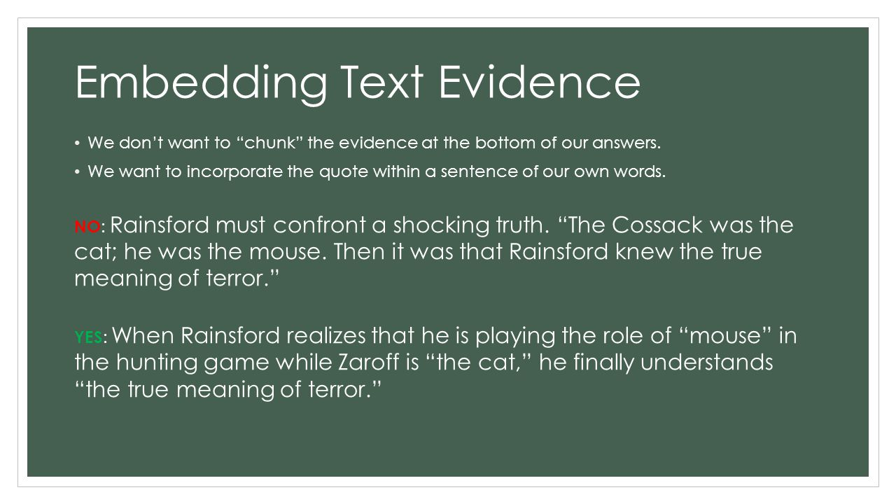 Embedding Text Evidence