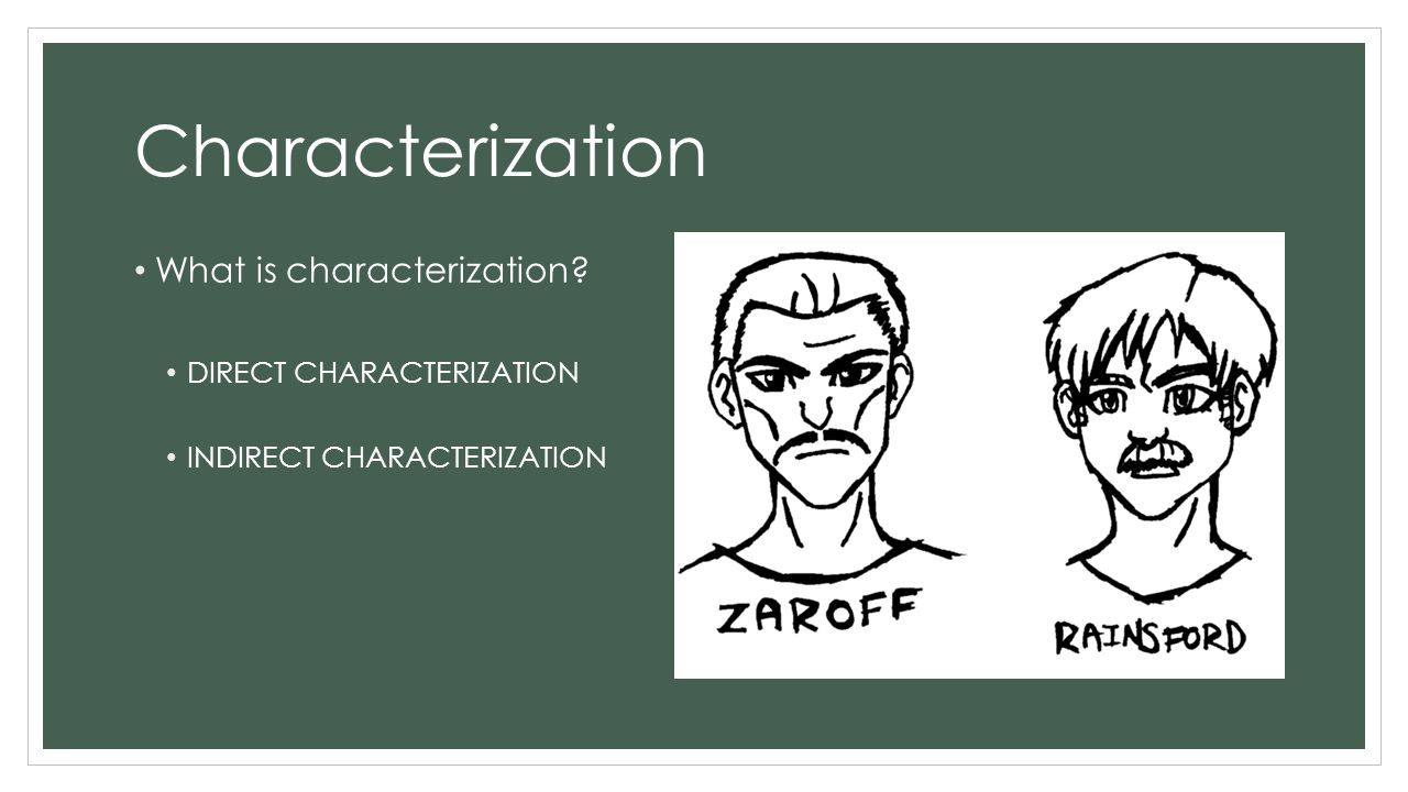 Characterization What is characterization DIRECT CHARACTERIZATION