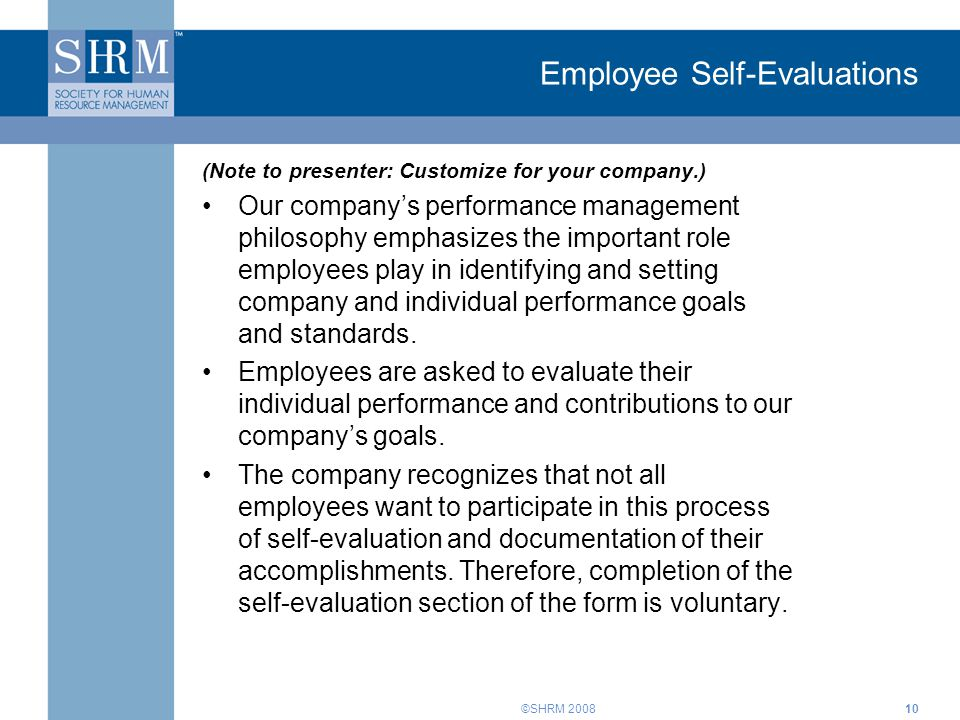 Employee Self-Evaluations