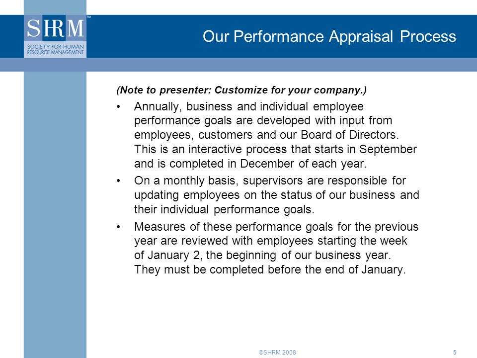 Our Performance Appraisal Process