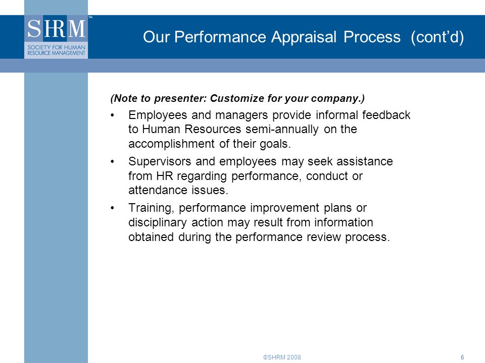 Our Performance Appraisal Process (cont'd)