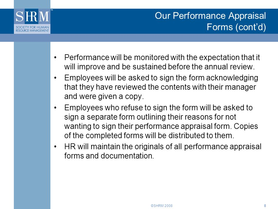Our Performance Appraisal Forms (cont'd)