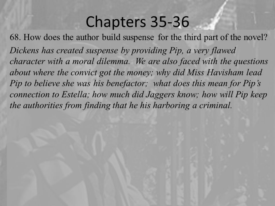 Chapters 35-36 How does the author build suspense for the third part of the novel