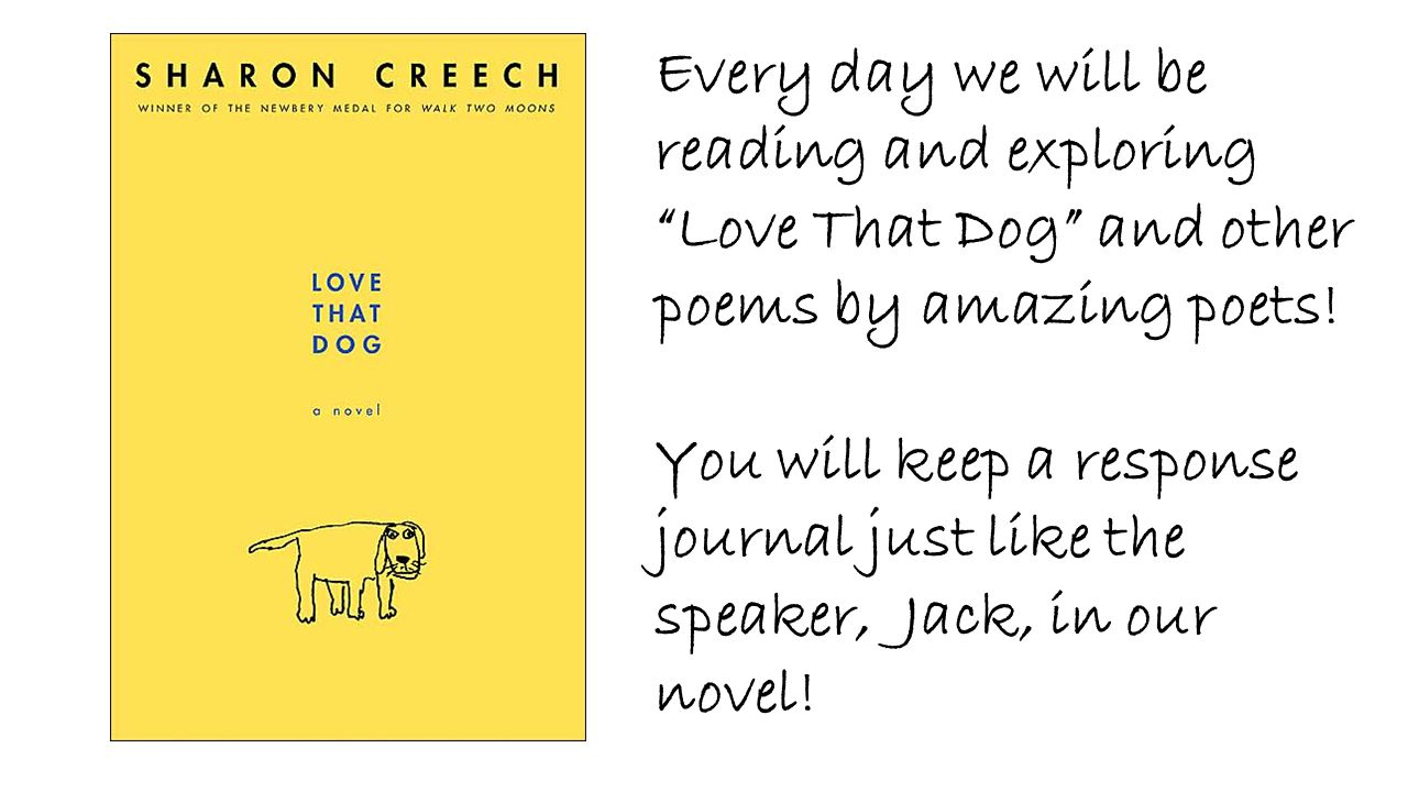 Every day we will be reading and exploring Love That Dog and other poems by amazing poets!
