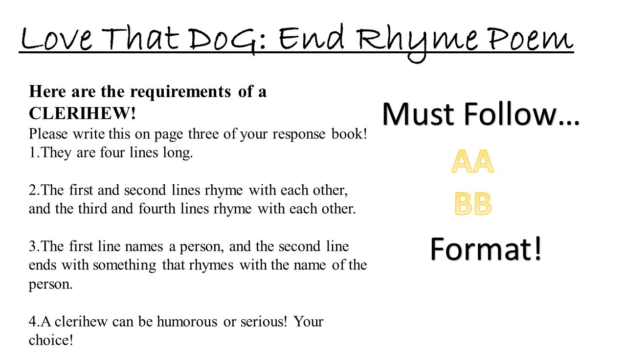 Love That DoG: End Rhyme Poem