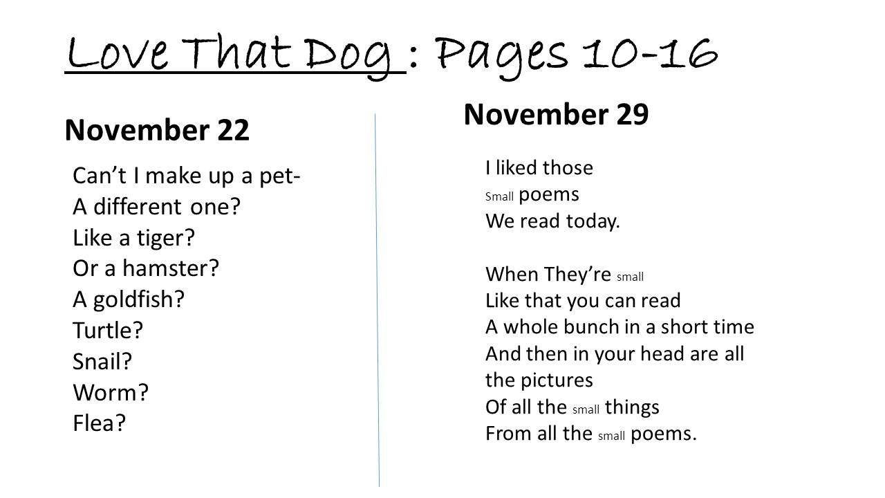 Love That Dog : Pages 10-16 November 29 November 22