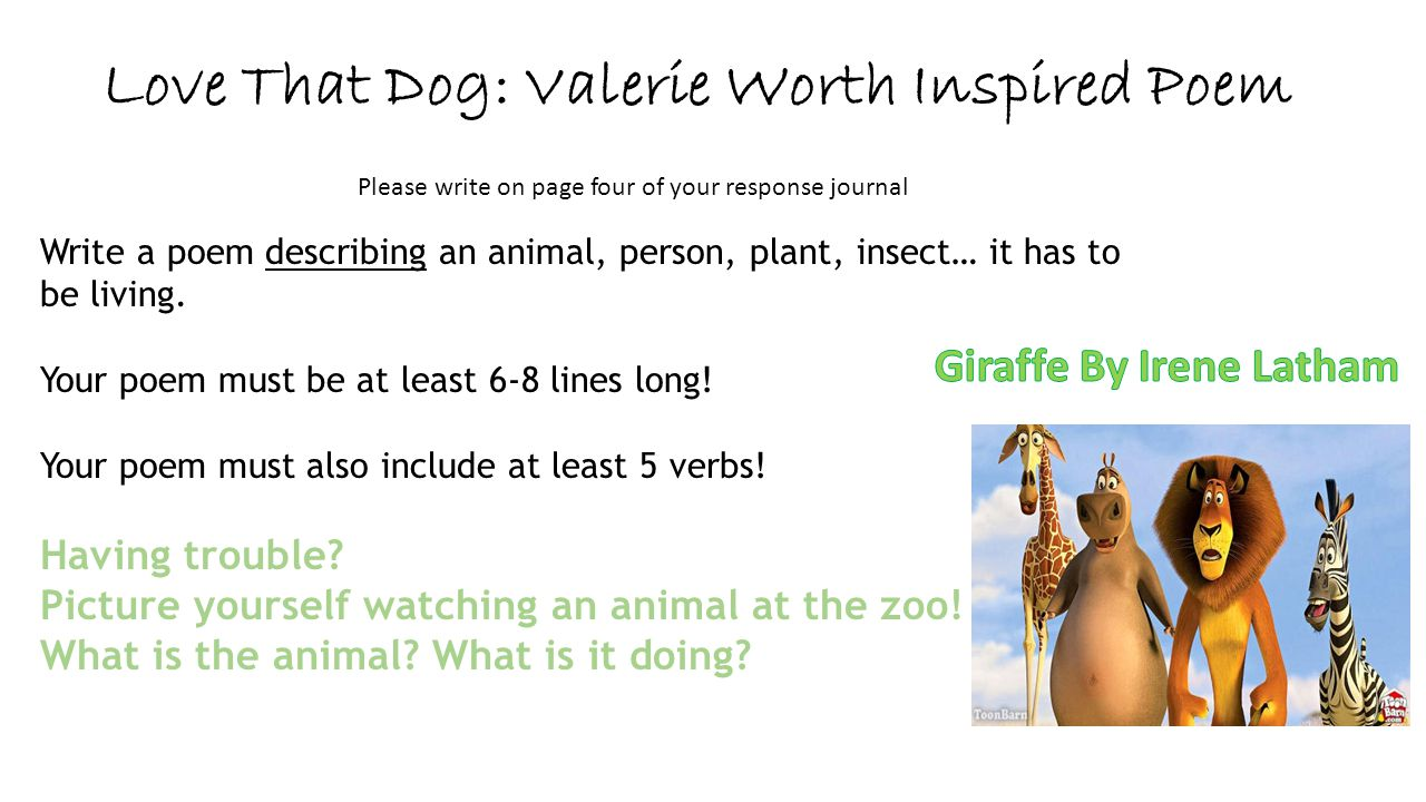 Love That Dog: Valerie Worth Inspired Poem