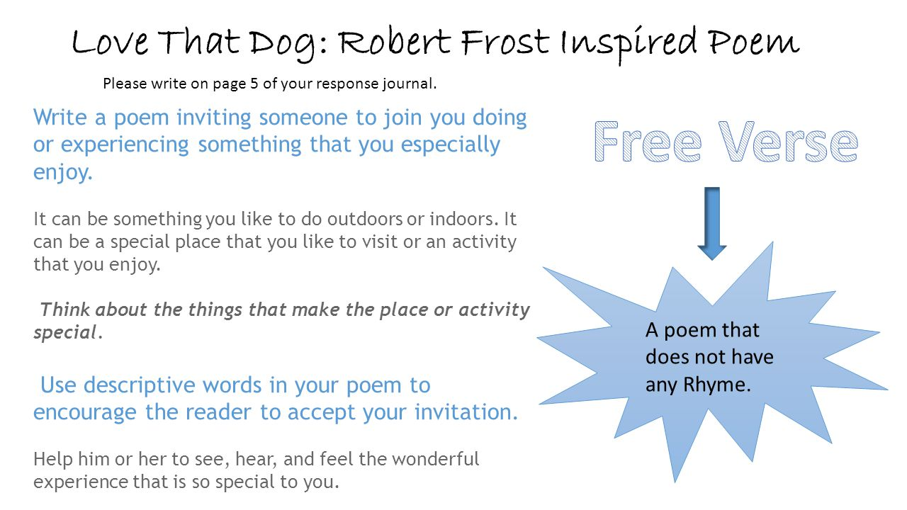 Love That Dog: Robert Frost Inspired Poem