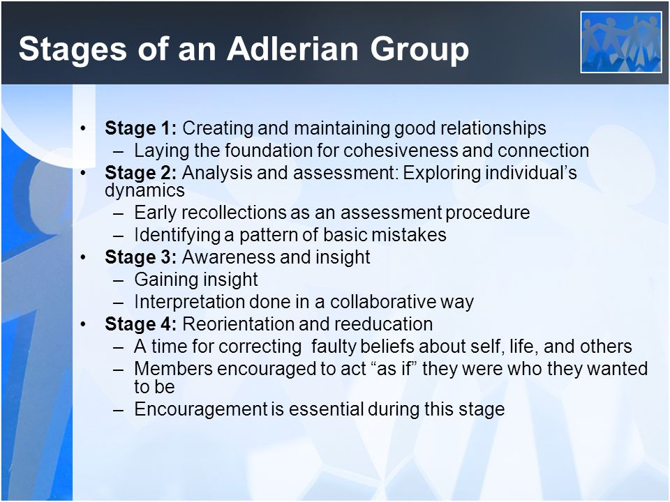 Stages of an Adlerian Group