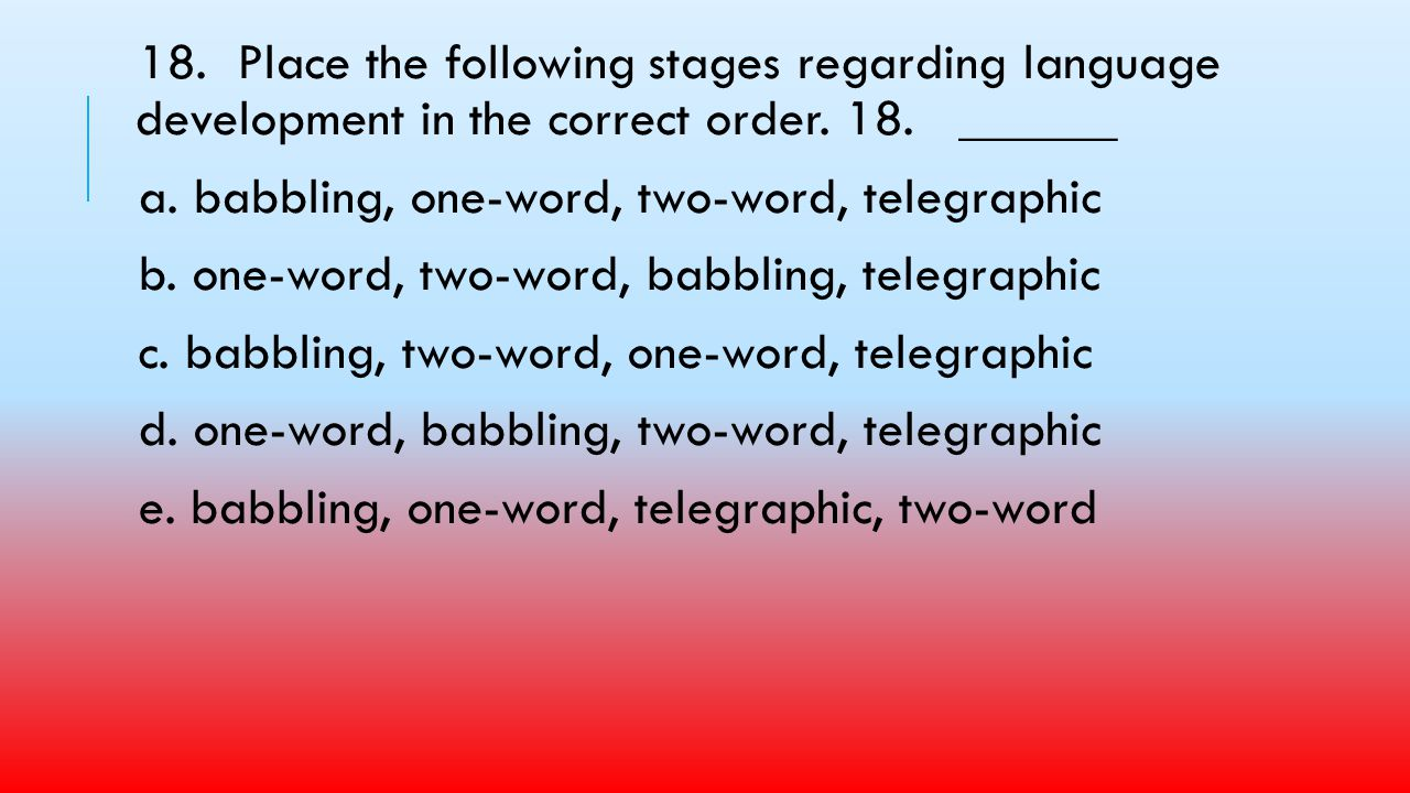 18. Place the following stages regarding language development in the correct order. 18. ______