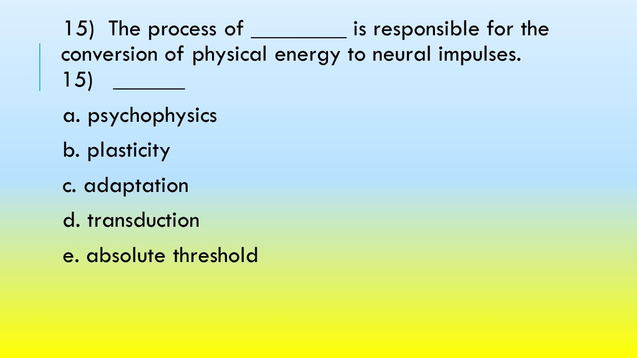 15) The process of ________ is responsible for the conversion of physical energy to neural impulses. 15) ______
