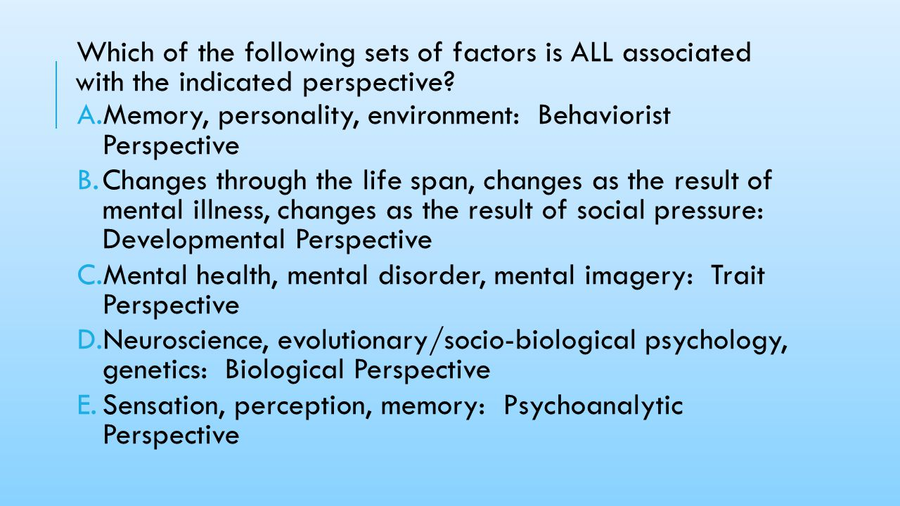 Which of the following sets of factors is ALL associated with the indicated perspective