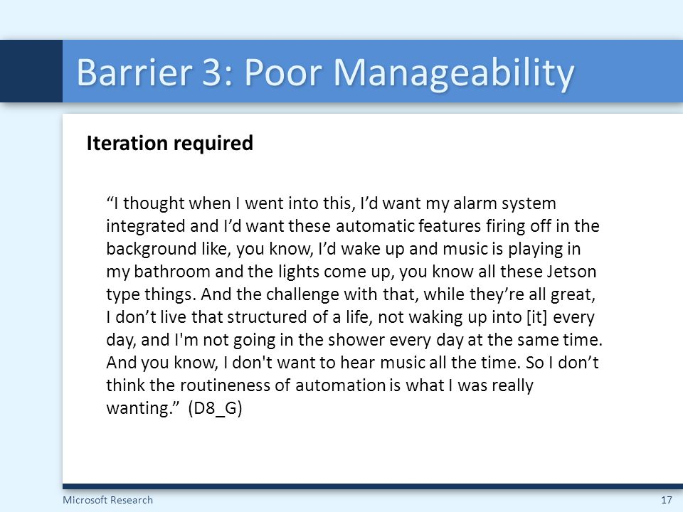 Barrier 3: Poor Manageability
