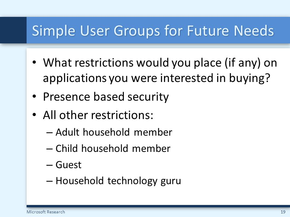 Simple User Groups for Future Needs