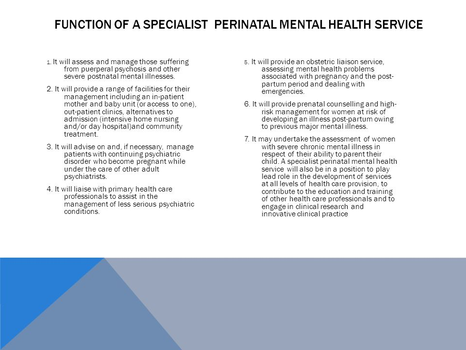 Function of a Specialist Perinatal Mental health Service
