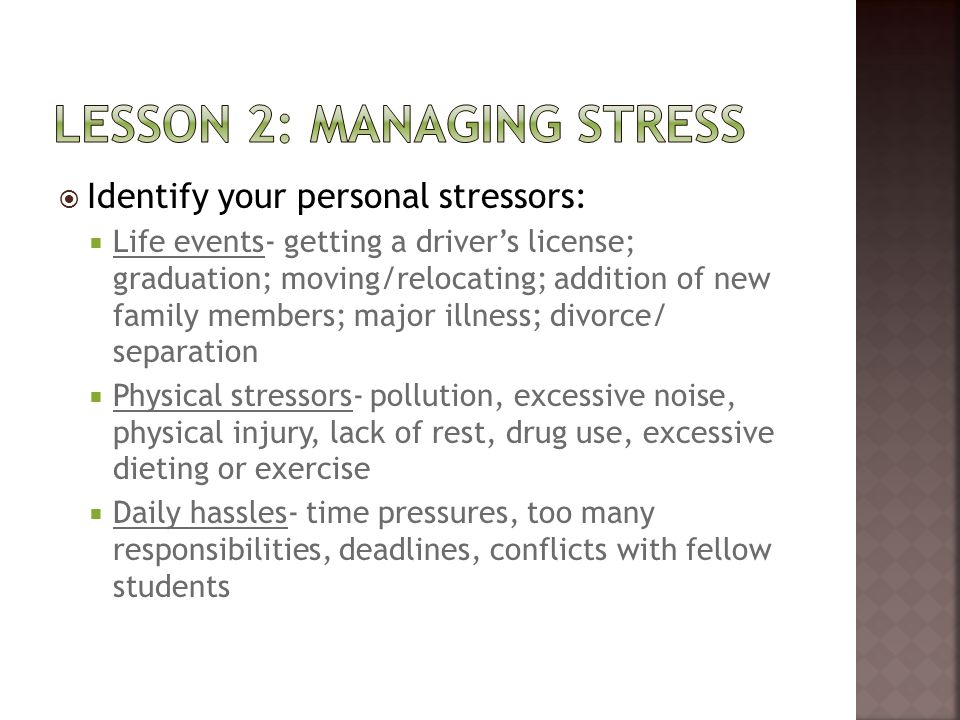 Lesson 2: managing stress