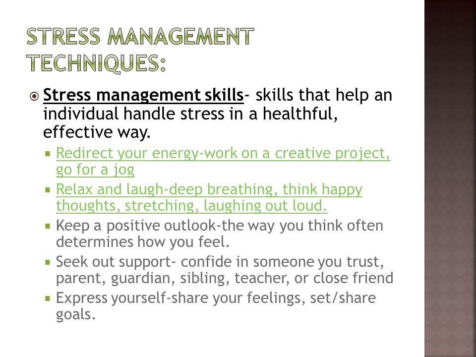 Stress management techniques: