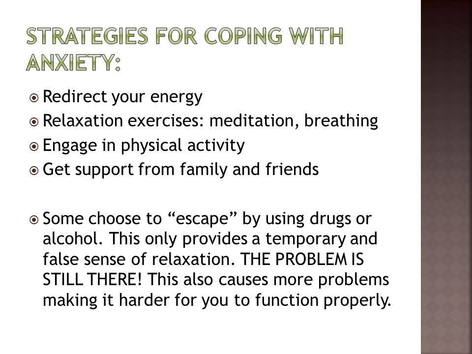 Strategies for coping with anxiety: