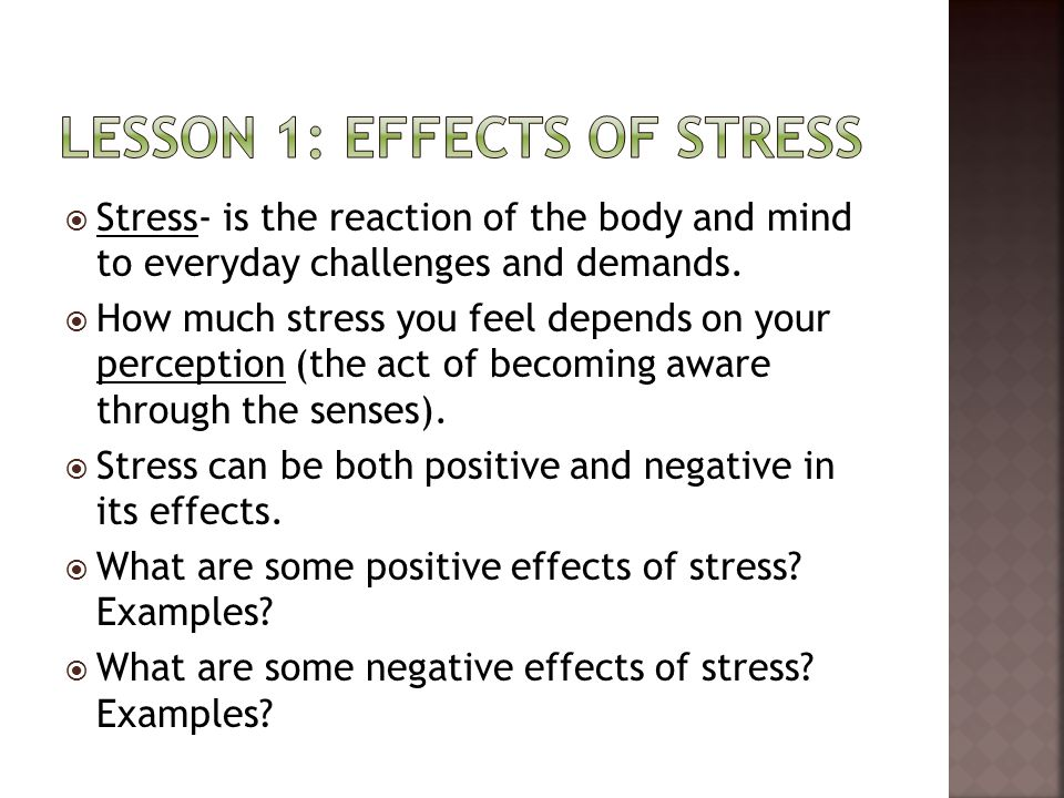 Lesson 1: effects of stress