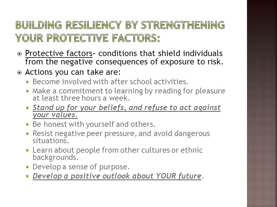 Building resiliency by strengthening your protective factors: