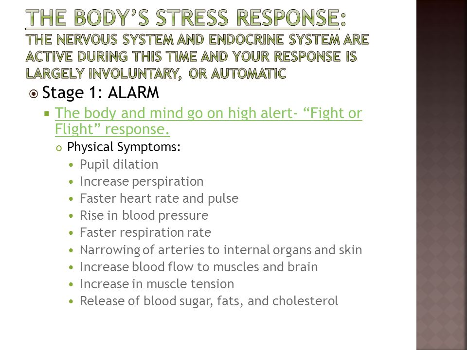 The body's stress response: the nervous system and endocrine system are active during this time and your response is largely involuntary, or automatic