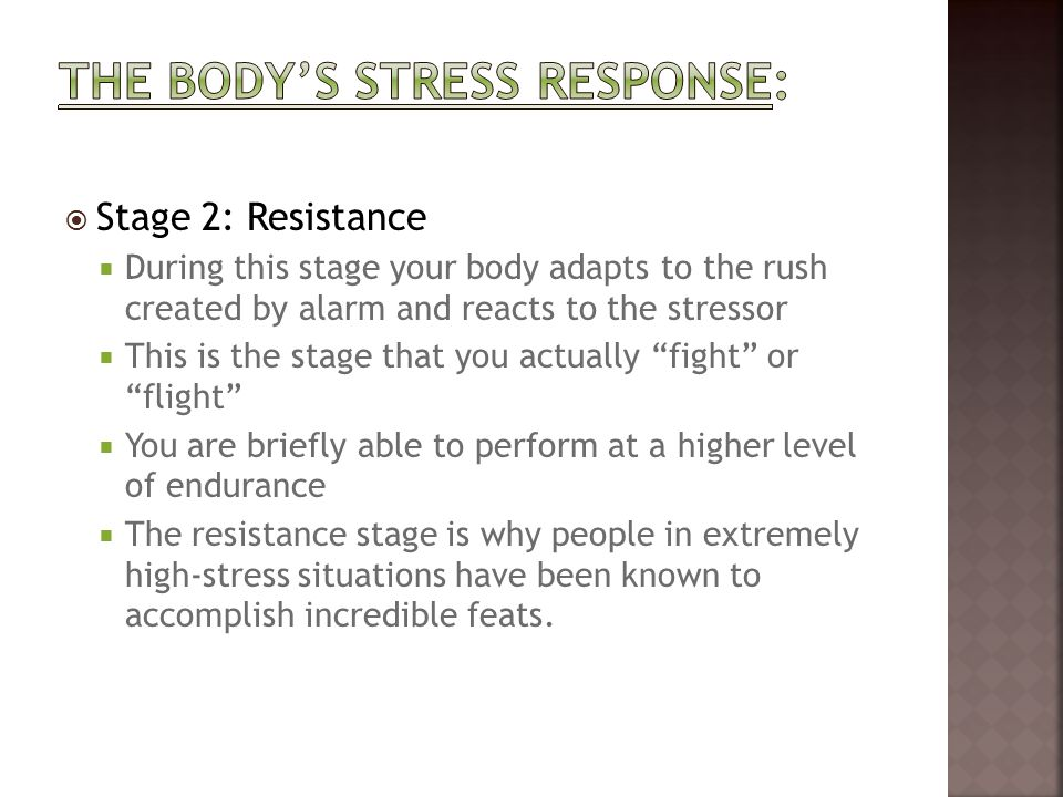 The body's stress response: