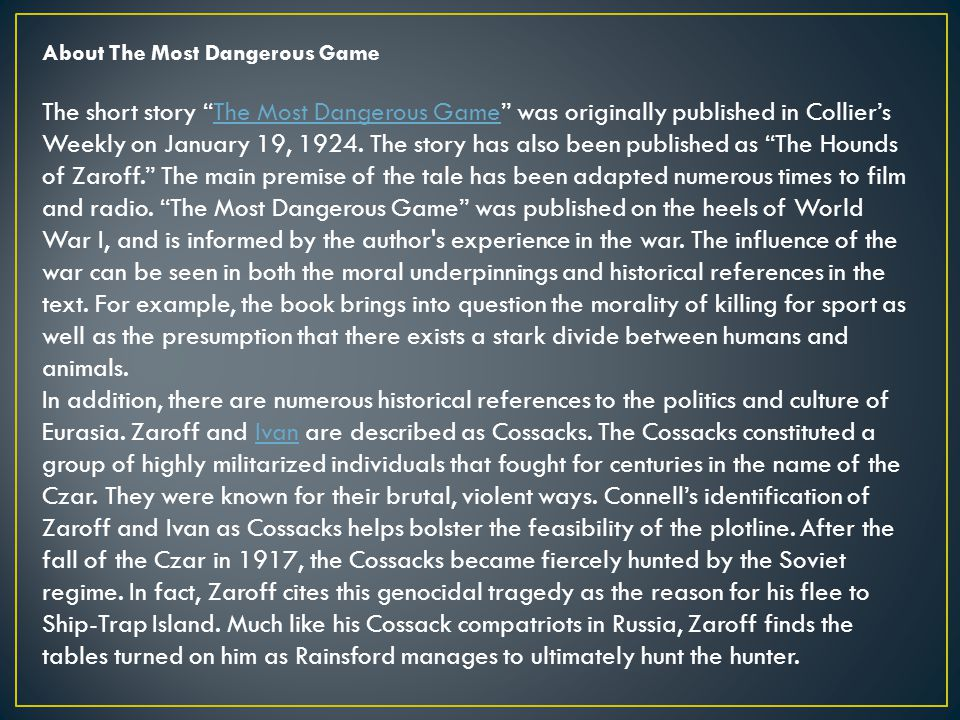 the most dangerous game ppt video online  about the most dangerous game