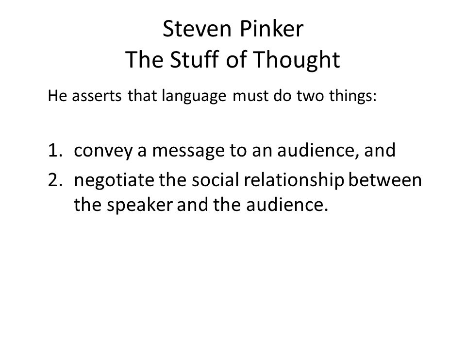 Steven Pinker The Stuff of Thought