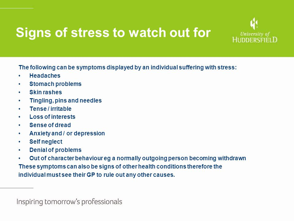 Signs of stress to watch out for
