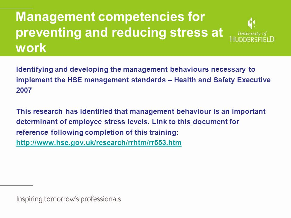 Management competencies for preventing and reducing stress at work