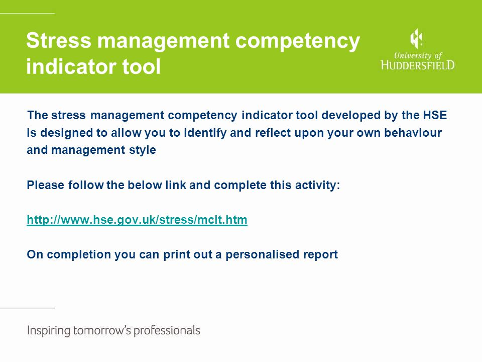 Stress management competency indicator tool