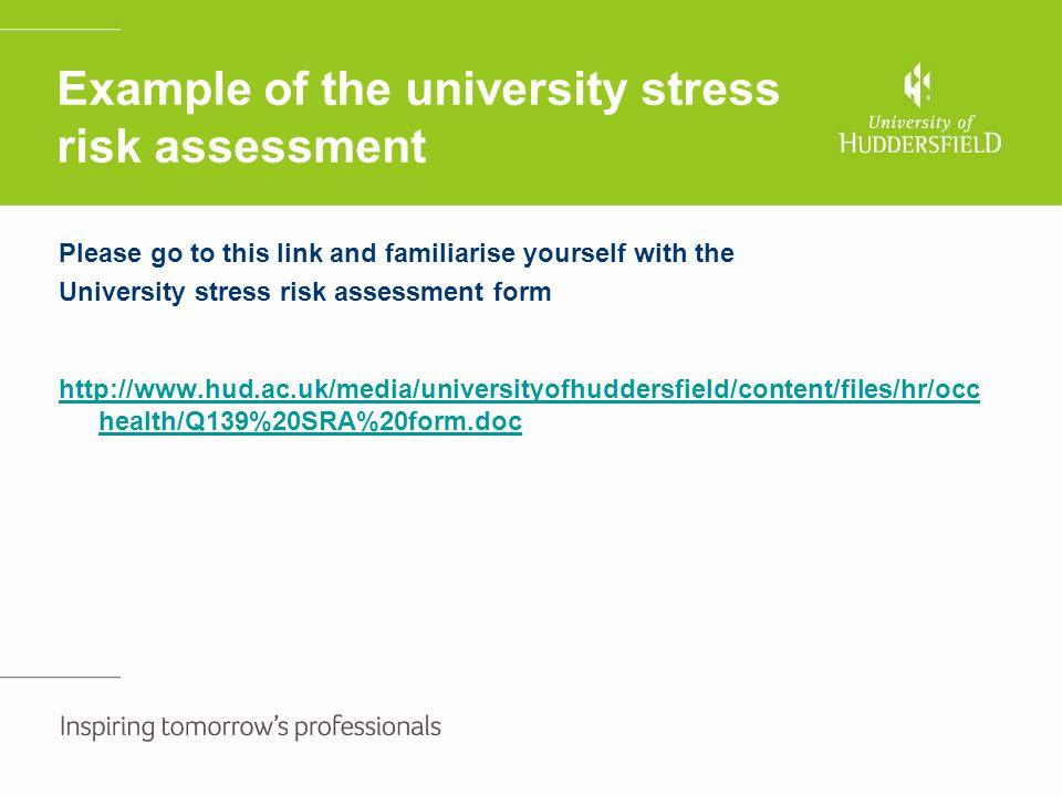 Example of the university stress risk assessment