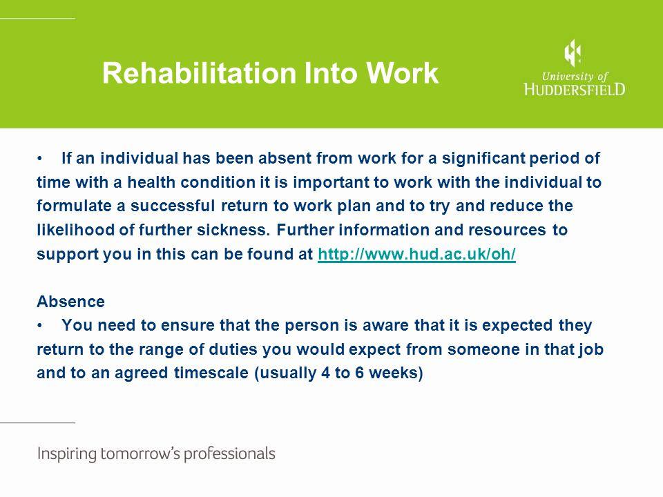 Rehabilitation Into Work