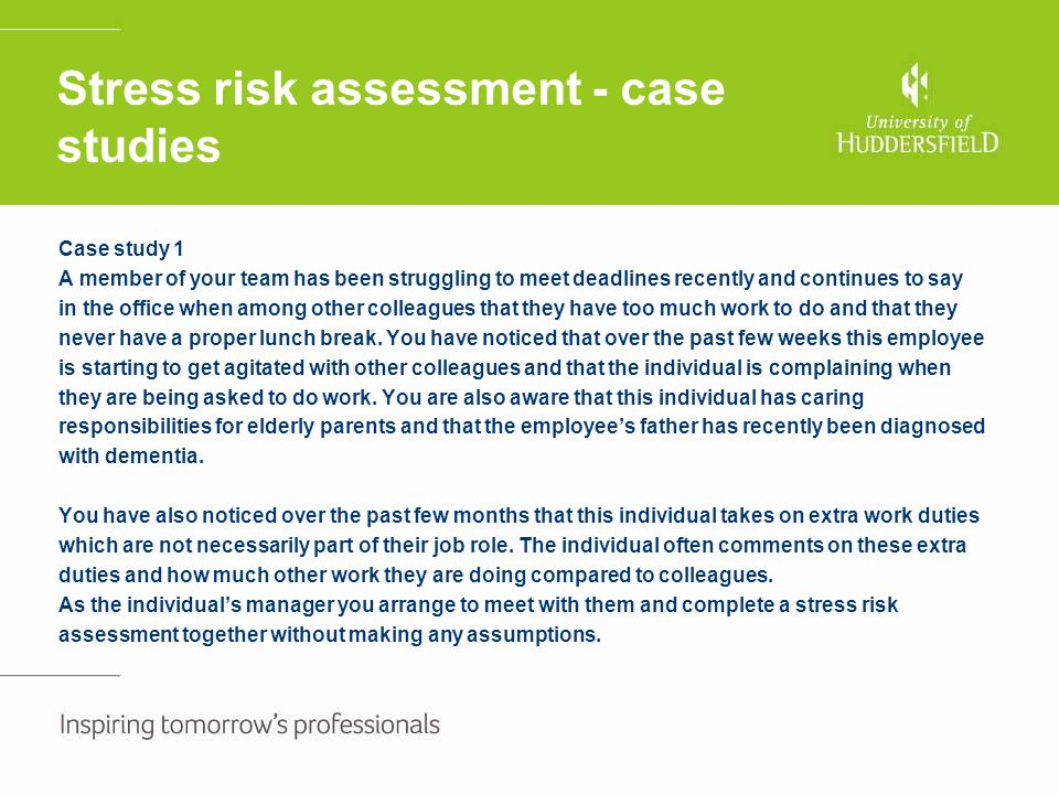 case studies on stress management at work Excessive work-related stress can have serious consequences both  applying stress management techniques to real-case examples  case studies and simulations.