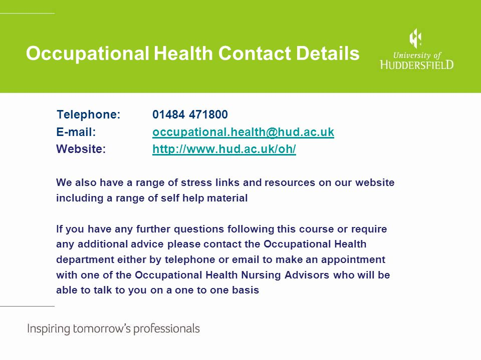 Occupational Health Contact Details