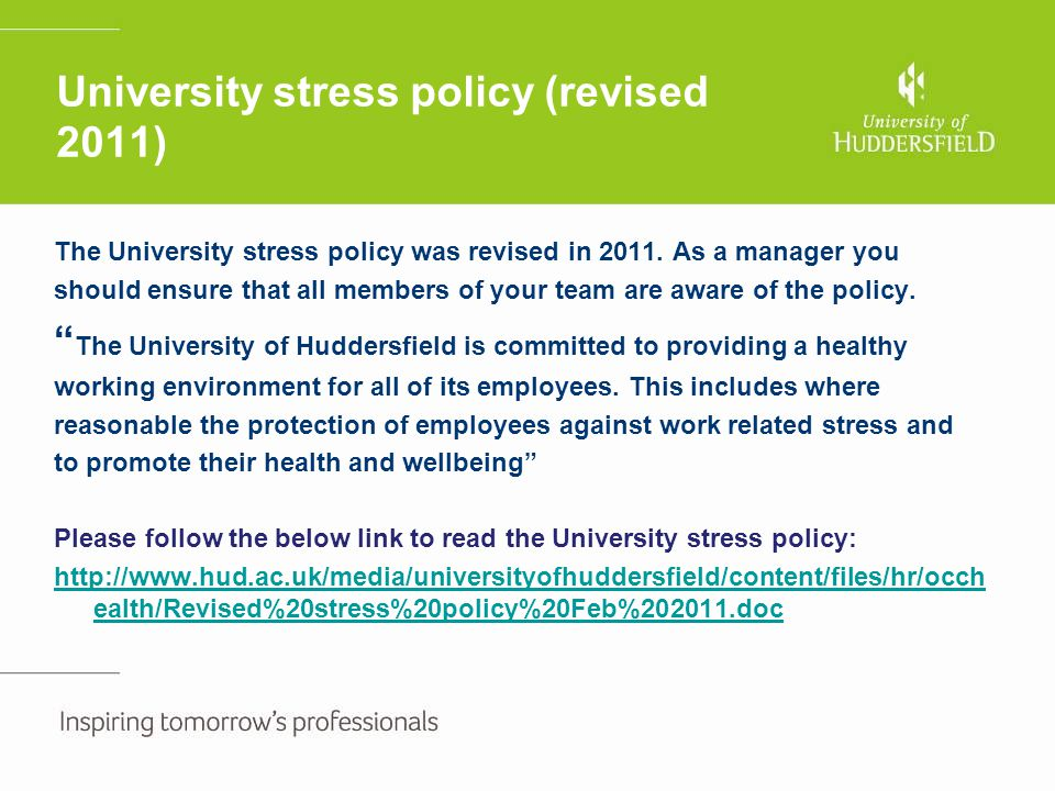 University stress policy (revised 2011)
