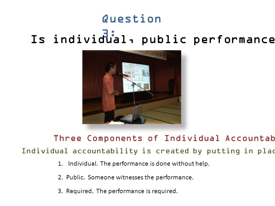 Is individual, public performance required