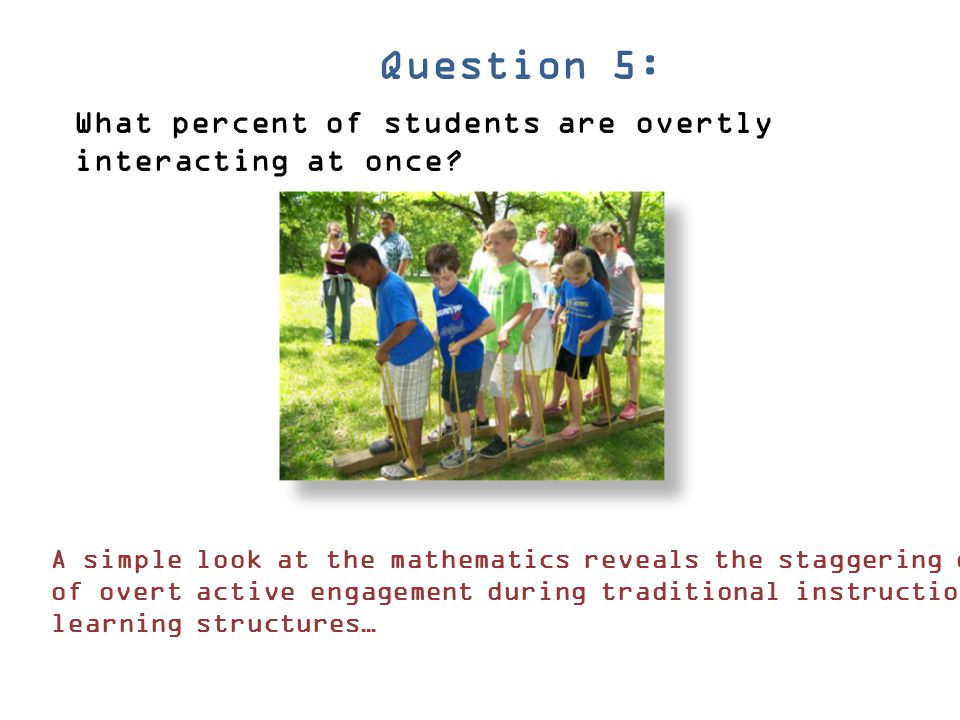 Question 5: What percent of students are overtly interacting at once
