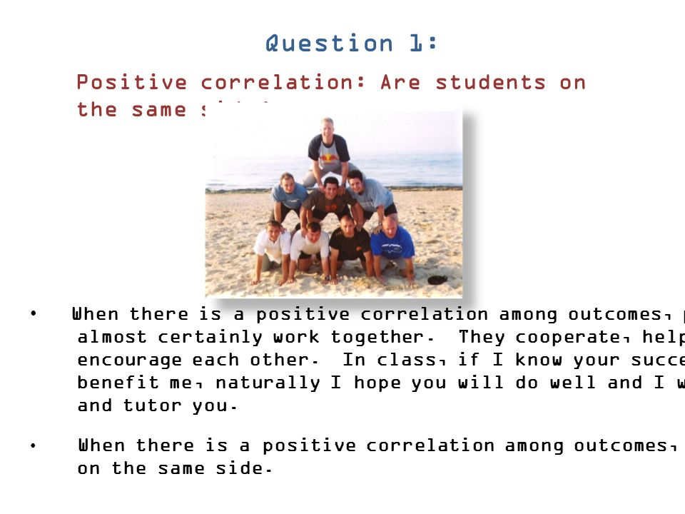 Question 1: Positive correlation: Are students on the same side
