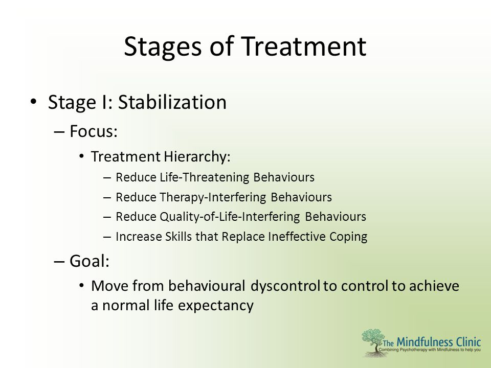 Stages of Treatment Stage I: Stabilization Focus: Goal: