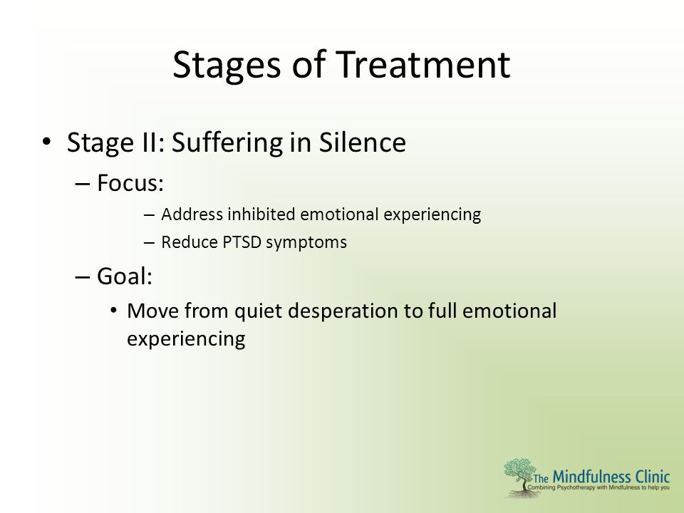 Stages of Treatment Stage II: Suffering in Silence Focus: Goal: