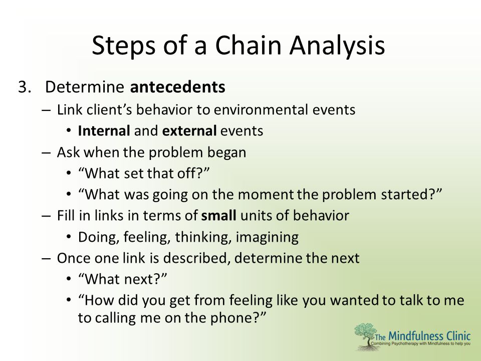 Steps of a Chain Analysis